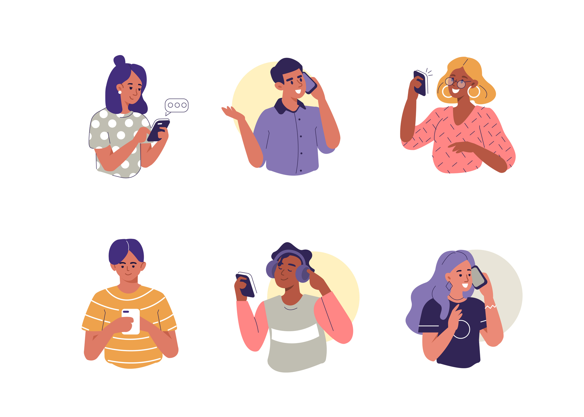 illustrated-people-using-cellphones